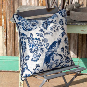 Down Filled Bird Toile Pillow, Blue image