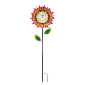 Pink Petals Garden Stake Thermometer image